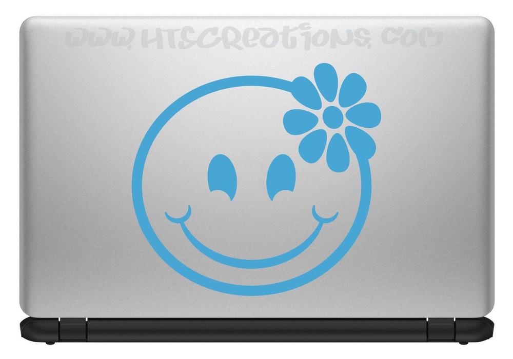 Smiley Face Hibiscus Hawaii Hawaiian Vinyl Decal Laptop Vanity Cell Phone Car Door Mirror Truck LT BLUE