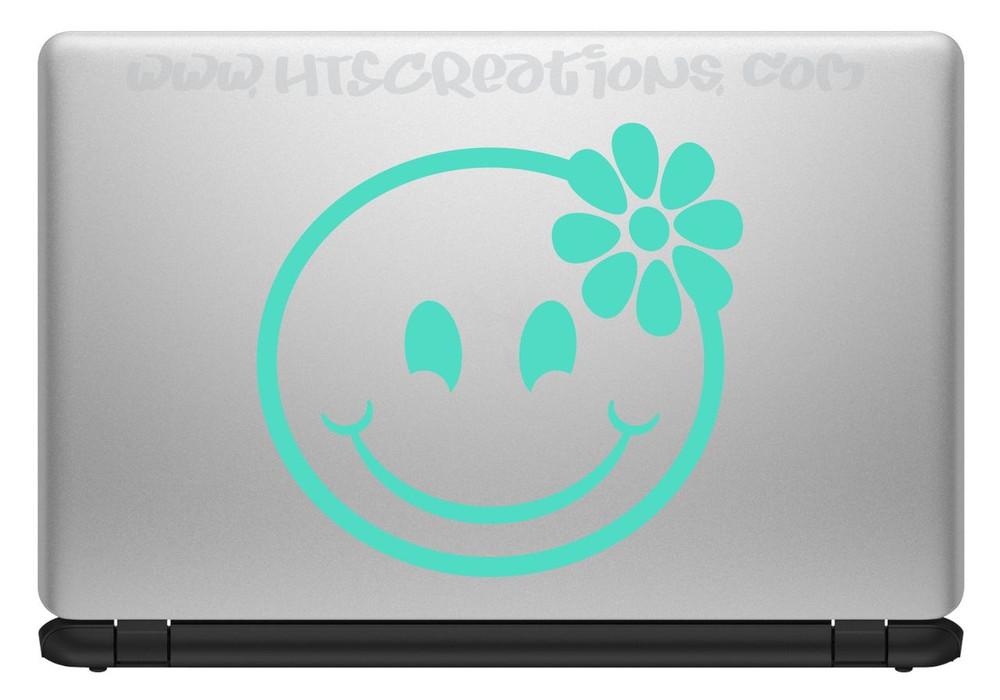 Smiley Face Hibiscus Hawaii Hawaiian Vinyl Decal Laptop Vanity Cell Phone Car Door Mirror Truck MINT GREEN