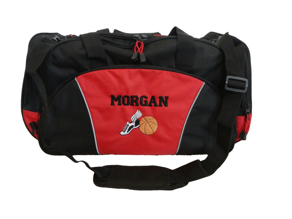 Cross Country XC Winged Track Shoe Running Basketball Personalized Embroidered RED DUFFEL Font Style VARSITY