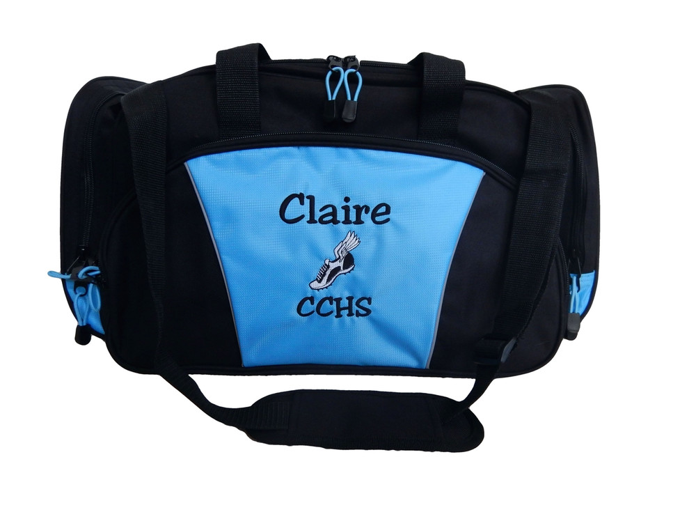Cross Country XC Winged Track Shoe Running Personalized Embroidered LT BLUE DUFFEL Font Style JESTER