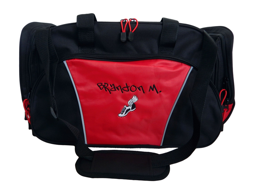 Cross Country XC Winged Track Shoe Running Personalized Embroidered RED DUFFEL Font Style