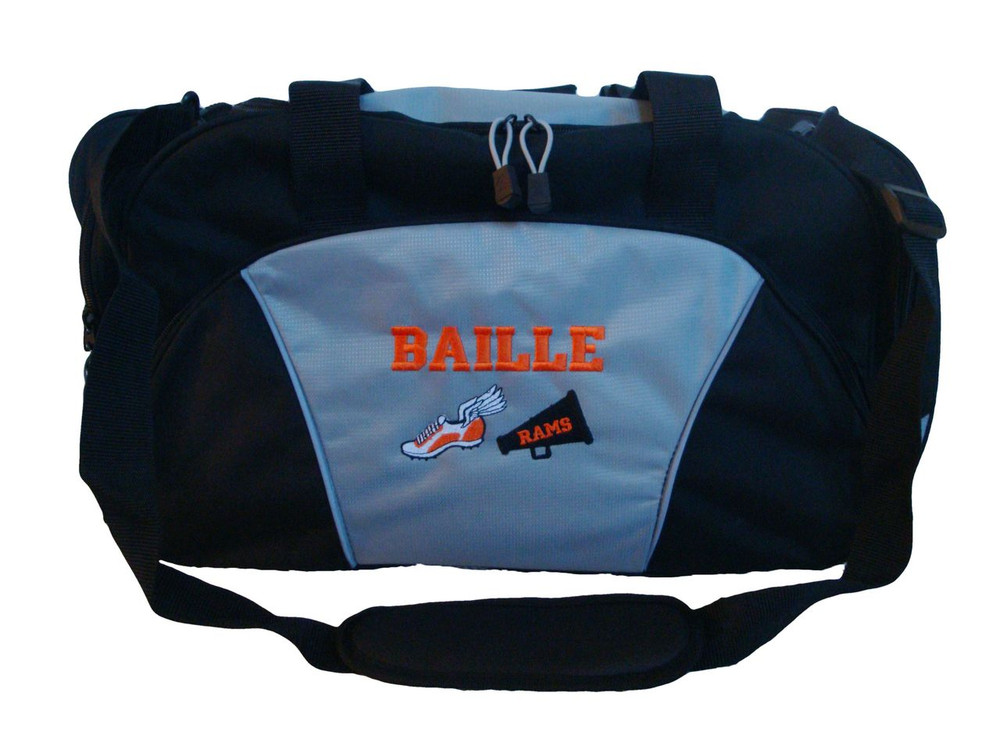Cross Country XC Winged Track Shoe Running Cheer Bullhorn Personalized Embroidered ROYAL BLUE DUFFEL Font Style VARSITY