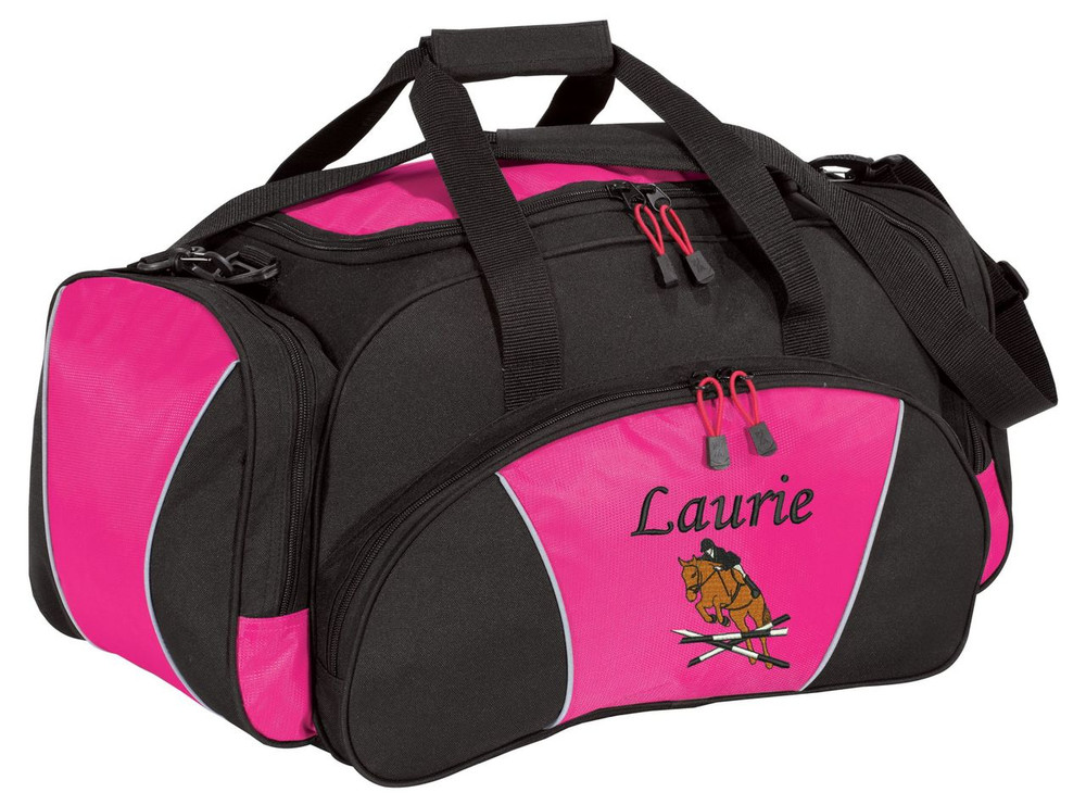 Horse Jumper Riding Equestrian Saddle Personalized Embroidered HOT TROPICAL PINK Duffel  Font Style MONO CORSIVA