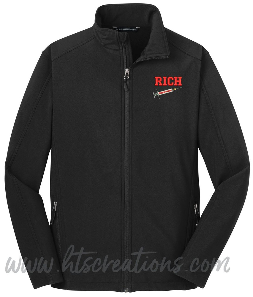 Phlebotomist Medic Softshell Jacket UNISEX MENS, WOMENS & YOUTH Sizes  BLACK Font Style VARSITY
