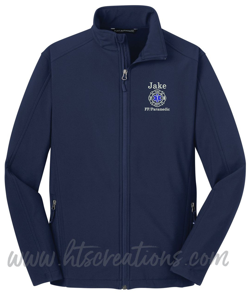 Firefighter Maltese Star of Life Fire Rescue FF Paramedic Medic Softshell Jacket DRESS BLUE NAVY Font Style BODINI