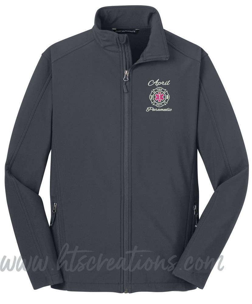 Firefighter Maltese Star of Life Fire Rescue FF Paramedic Medic Softshell Jacket BATTLESHIP GREY Font Style ALEXIS