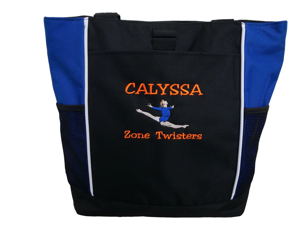 Gymnast Leaping Gymanstics Leaping Splitz ROYAL BLUE Zippered Tote Bag Font Style VARSITY