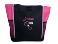 Upside Down Heart Stethoscope Nursing Registered Nurse Respiratory Therapist Therapy RN BSN HOT PINK Tote Bag Font Style CASUAL SCRIPT and VARSITY