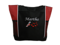 Cross Country XC Track Shoe Running Personalized Embroidered RED Zippered Tote Bag Font Style MONO CORSIVA