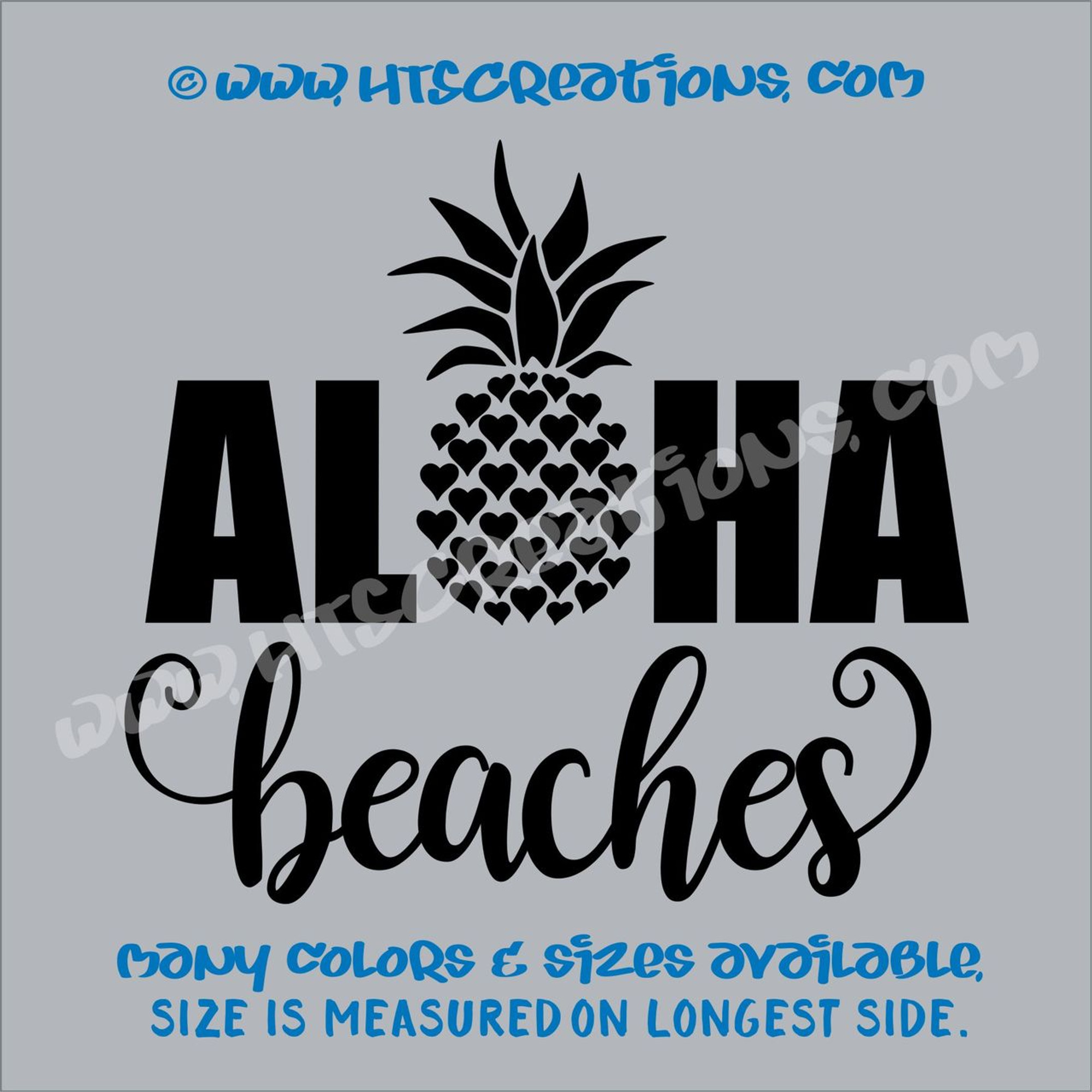 Aloha Beaches Pineapple Hawaii Hawaiian Heart Vinyl Decal
