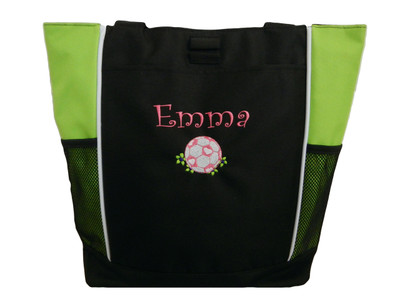 Soccer Ball Girls Flower Monogrammed Personalized Embroidered Zippered Tote Bag