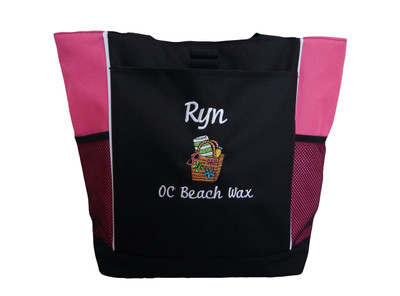 Beach Bag Sunglasses Towel Themed Monogammed Personalized Embroidered TROPICAL HOT PINK Zippered Tote Bag Font Style CURSIVE