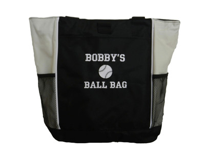 Baseball Sports Custom Monogrammed Personalized STONE Tote Bag Font Style Varsity Collegiate