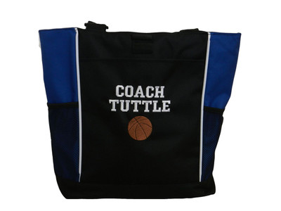 Basketball Sports Coach Team Mom Custom Personalized ROYAL BLUE Tote Bag Font Style VARSITY