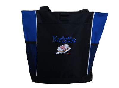 Crosstitch Needlepoint Sewing Embroidery Crafts Heart Custom Monogram Personalized ROYAL BLUE Tote Bag Font Style CURLZ