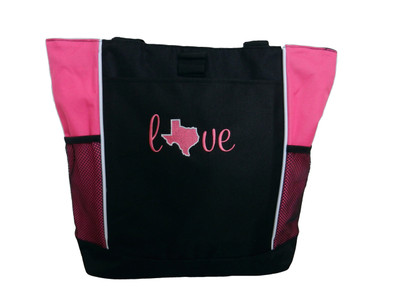 Love Texas State Tote Bag HOT PINK