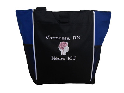 Neuro Neurosurgeon Brain ICU Medical Nursing Nurse ER ROYAL BLUE Tote Bag Font Style JESTER