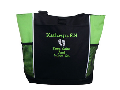 Baby Feet KEEP CALM and NURSE ON Nursing NICU Nurse RN BSN Mother Baby Paramedic LIME GREEN Tote Bag Font Style JESTER