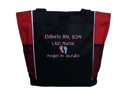 Baby Feet Footprints Angel in Scrubs Quote Nursing NICU Nurse RN BSN Mother Baby ER Embergency Room Labor & Delivery RED Tote Bag Font Style CHILDS PLAY