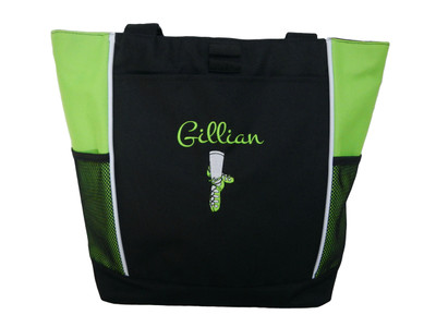 Ghillie Shoes Celtic Irish Dance Ireland Reel Princess Girl LIME Zippered Tote Bag Font Style MONTE CARLO