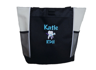 Dentist Tooth Toothbrush Toothpaste Dental Hygienist Practitioner CDA RDH DLT DDS MDS Periodontist Orthodontist Dentistry Oral Surgeon Medical STONE Zippered Tote Bag Font Style MARKER PEN