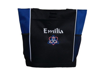 Celtic Trinity Heart Ireland ROYAL BLUE Hot Pink White Custom Personalized Zippered Tote Bag Font Style CALLIGRAPHY