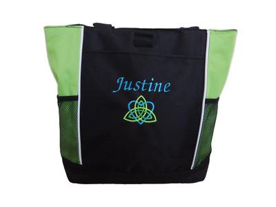 Celtic Trinity Heart Ireland LIME GREEN Aqua Kelly Lime Green Custom Personalized Zippered Tote Bag Font Style MONO CORSIVA