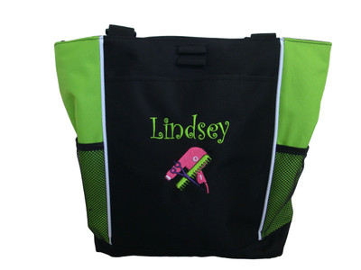Hairdresser Cosmetology Beautician Make-Up Artist Blowdryer Comb Scissors Custom Personalized LIME GREEN Zippered Tote Bag Font Style CURLZ