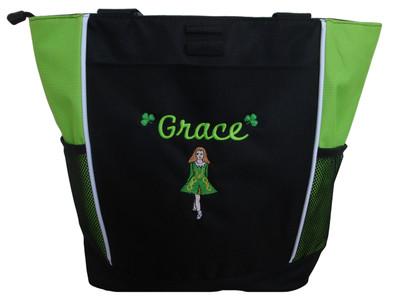 Irish Dancer Ghillie Girl Shamrocks Clover Dancer Jig Shoes Celtic Dance Ireland LIME GREEN Zippered Tote Bag Font Style CURSIVE (Kelly Green DRESS with Golden Yellow TRIM)