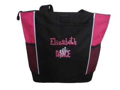 Dancers Dance Ballet Ballerina HOT PINK Zippered Tote Bag Font Style GIRLZ
