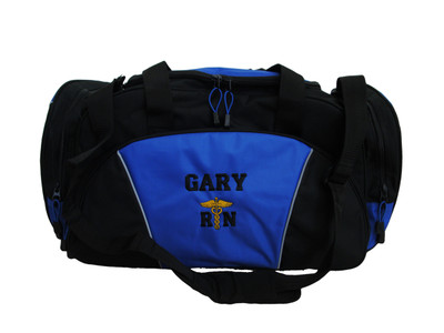 Caduceus ROYAL BLUE DUFFEL RN Medical Ambulance First Responder EMT EMS Paramedic Medic RN Emergency Hospital Font Style VARSITY