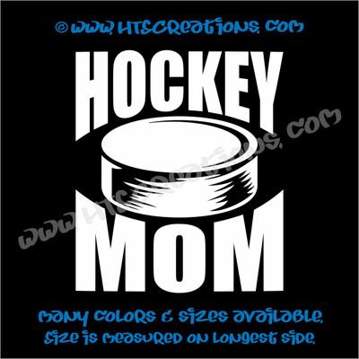 Ice Hockey Puck Mom Vinyl Decal WHITE