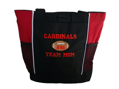 Football Sports Team Mom Custom Personalized RED Tote Bag Font Style VARSITY