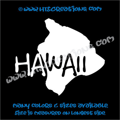 Hawaii Island Hawaiian Paradise State Vinyl Decal WHITE