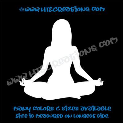 Yoga Pose OM OHM AUM Namaste Spiritual Vinyl Decal WHITE