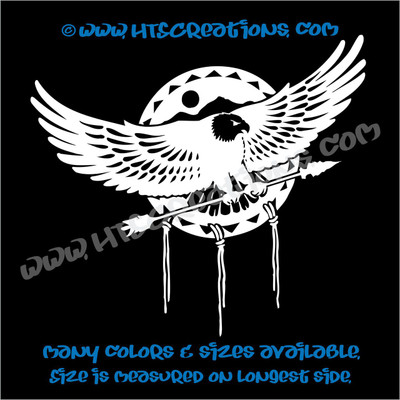 Dreamcatcher Eagle Soaring Native American Feathers Indian Vinyl Decal WHITE