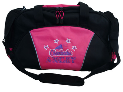 Cheer Bullhorn Stars Swirls Cheerleading Poms Dance Sports Personalized Embroidered TROPICAL HOT PINK DUFFEL Font Style VARSITY OPEN