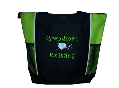 Knitting Needles Heart Crochet Embroidery Crafts Custom Monogrammed Personalized LIME GREEN Tote Bag Font Style CURLZ