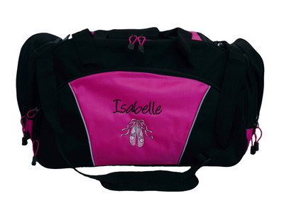 Ballet Shoes Ballerina Dance Personalized Embroidered Duffel HOT PINK DUFFEL Font Style HANDWRITTEN