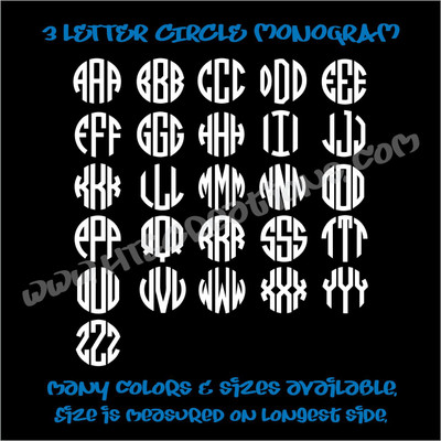3 Letter Circle Monogram Vinyl Decal Sticker Personalized