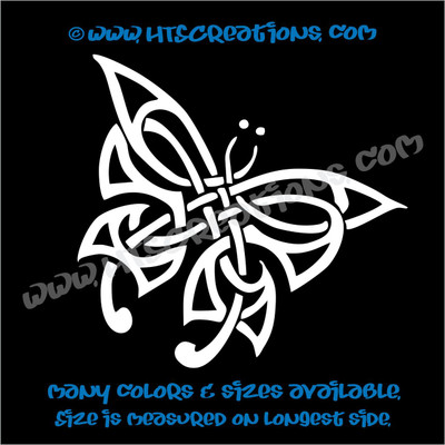Butterfly Celtic Irish Ireland Religious Church Knot Vinyl WHITE