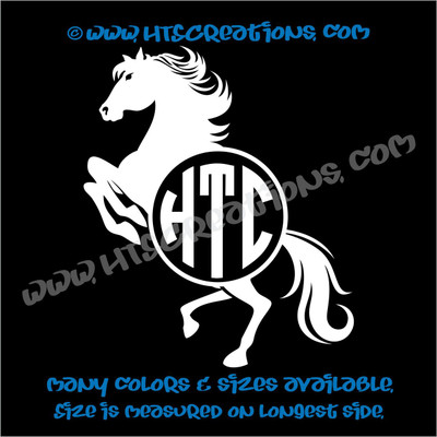 Horse Equestrian Rodeo Western Circle Monogram Vinyl Car Decal Sticker Rescue WHITE