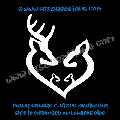 Deer Doe Family Hunting Buck Elk Mom Dad Baby Kids Love Vinyl Car Truck Boat Decal Sticker WHITE