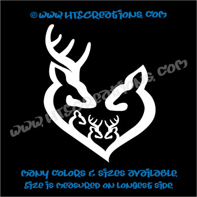 Deer Doe Family Hunting Buck Elk Mom Dad 3 Boys Girls Kids Love Vinyl Car Truck Boat Decal Sticker WHITE