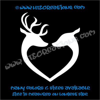 Deer Doe Reindeer Hunting Buck Elk Love Couple Wedding Vinyl Car Decal Sticker WHITE