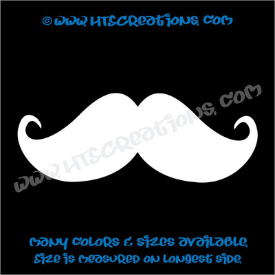 Mustache Full Curl Point Hippie Boho Car Truck Boat Vinyl Decal  WHITE