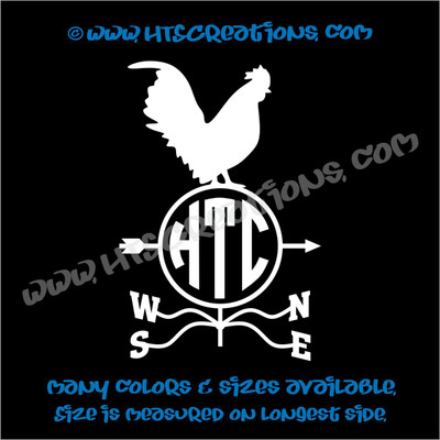 Weathervane Rooster Farm Wind Home Barn Tractor Car Truck Laptop Vinyl Decal WHITE