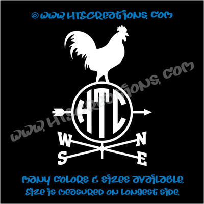 Weathervane Rooster Chicken Farm Wind Home Barn Tractor Car Truck Laptop Vinyl Decal WHITE