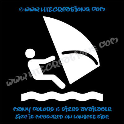 Wind Surfing Sailing Nautical Water Sports Car Truck Laptop Wall Vinyl Decal WHITE