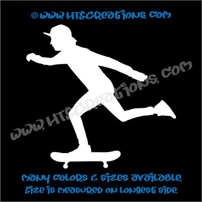 Skateboarder Skateboarding Car Truck Bumper Skateboard Laptop Wall Vinyl Decal WHITE